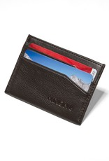 NIXON Flaco Leather Card Wallet, DK BROWN