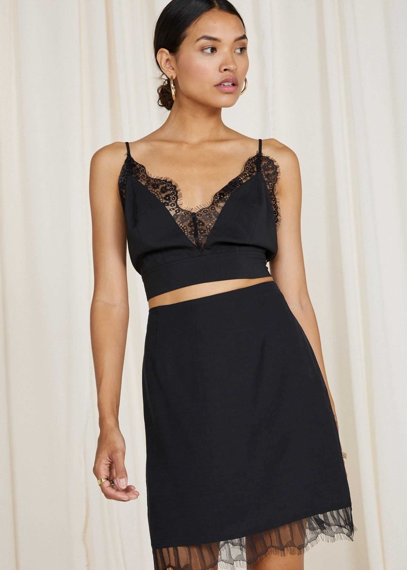 SAGE the LABEL GENESIS Lace Trim Skirt