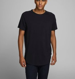 JACK & JONES ORGANIC COTTON CURVED HEM T-SHIRT, Black