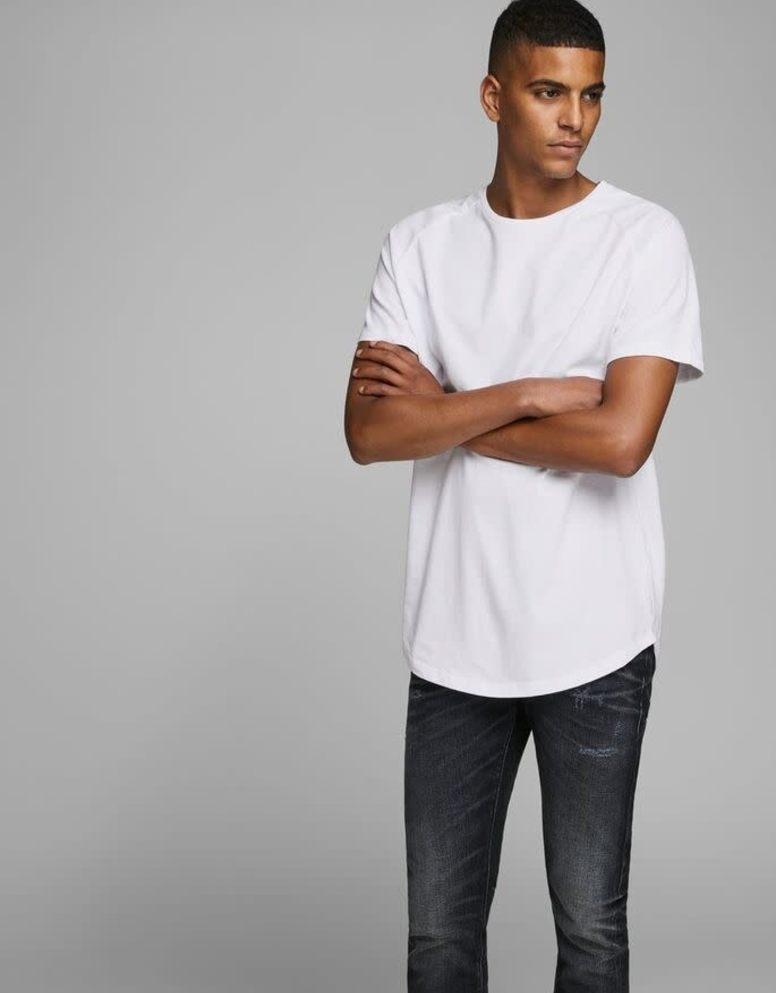 JACK & JONES ORGANIC COTTON CURVED HEM T-SHIRT, White