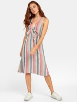 RVCA FLOSSIE STRIPED MIDI DRESS
