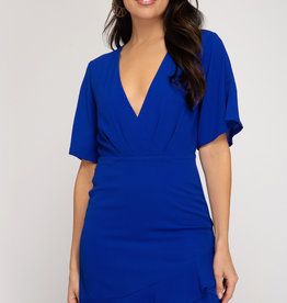 LeBLANC finds Flutter sleeve ruffle hem Dress