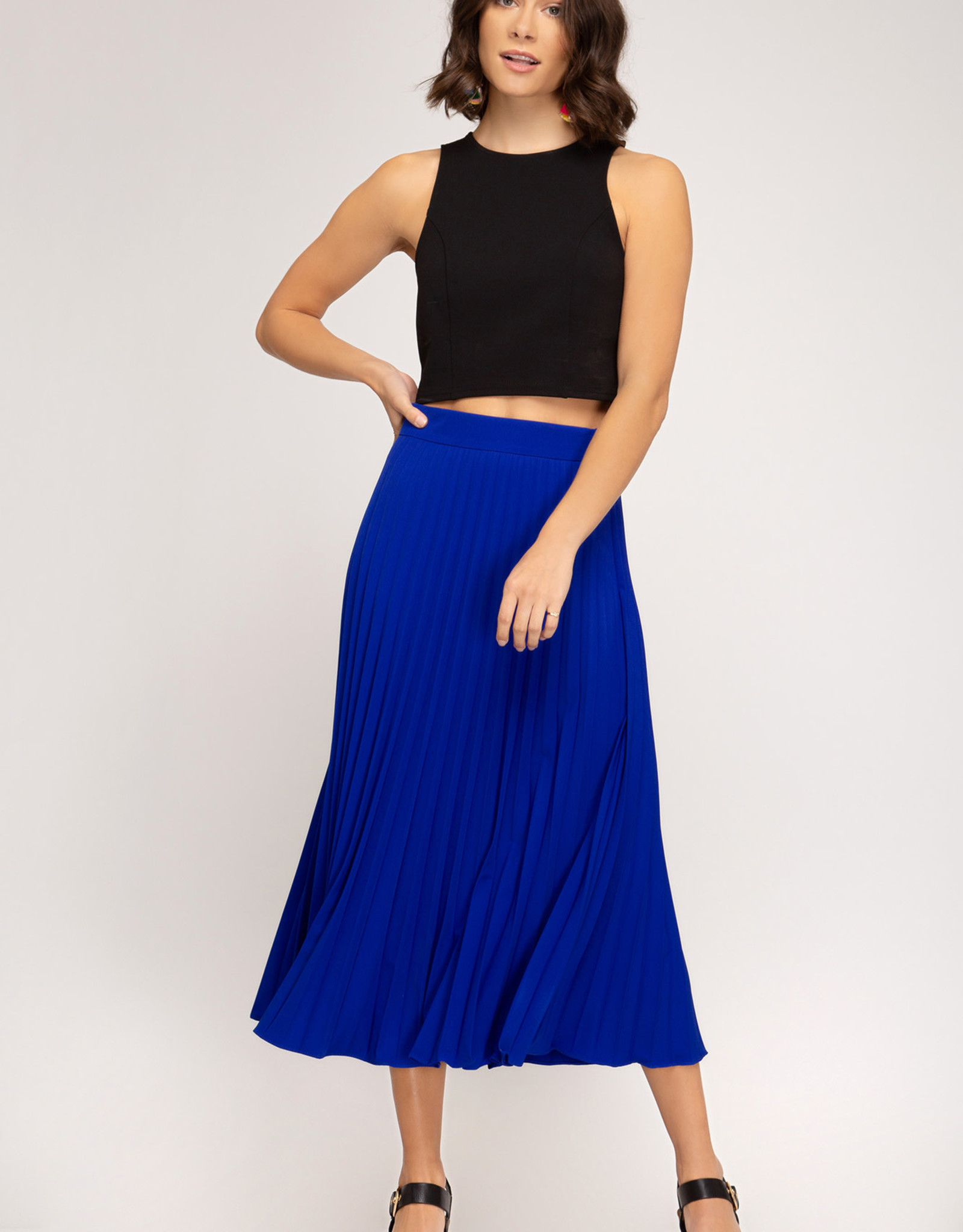 LeBLANC finds PLEATED skirt, Royal or Black