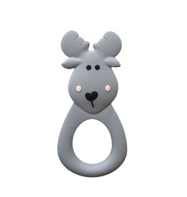 LITTLE CHEEKS Grey Moose SILICONE TEETHER