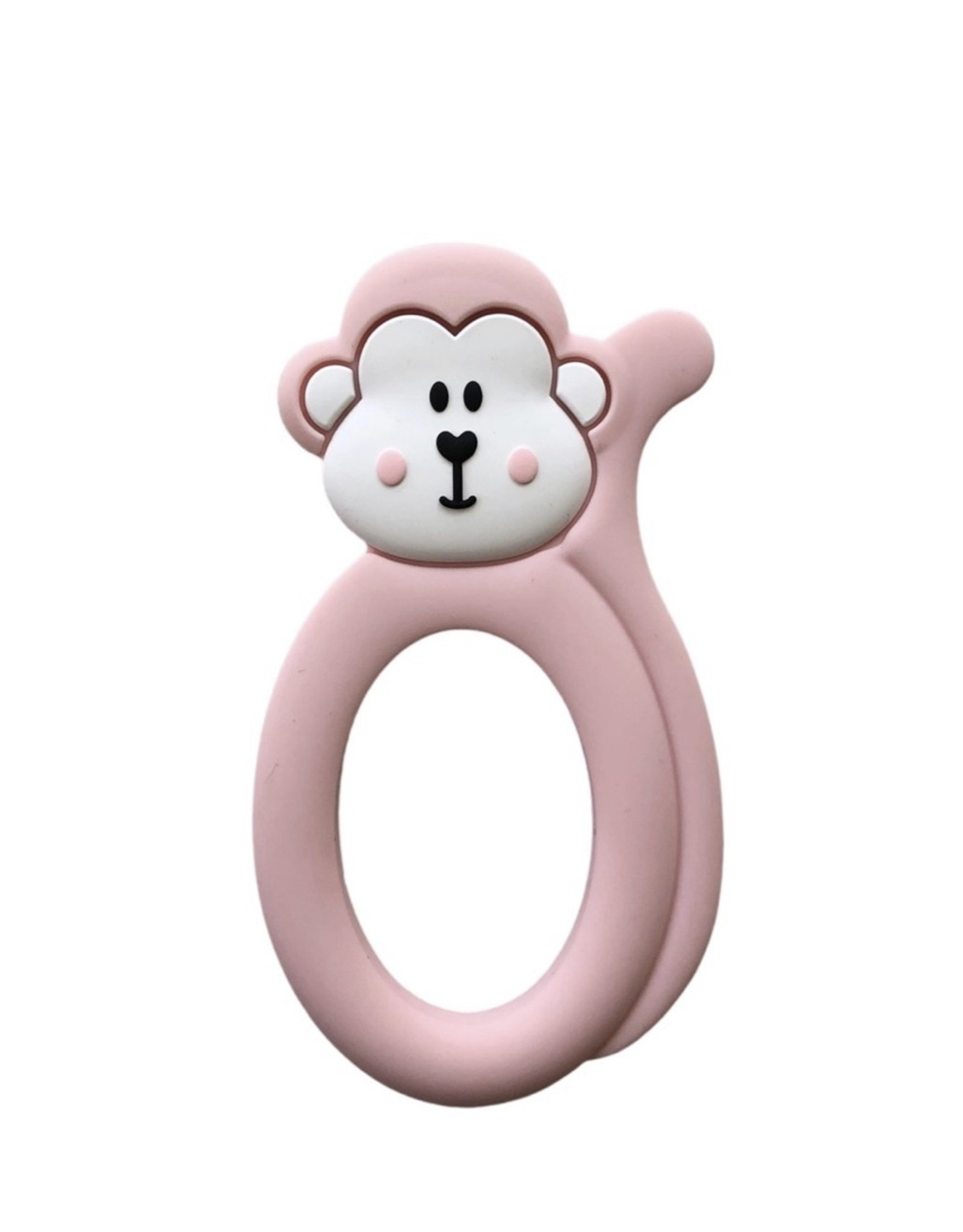 LITTLE CHEEKS Pink Monkey SILICONE TEETHER