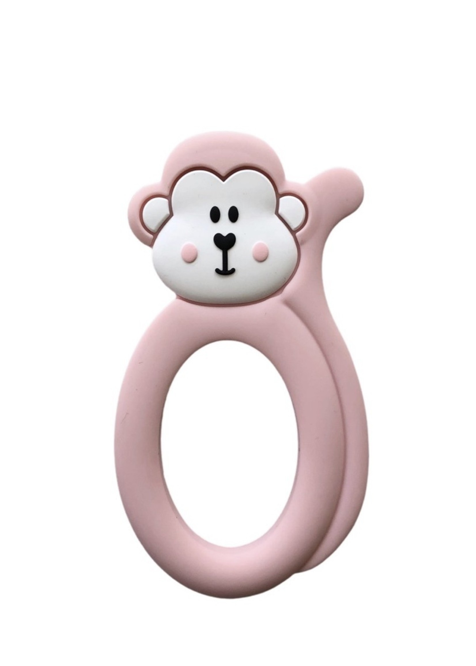 LITTLE CHEEKS Pink Monkey SILICONE TEETHER