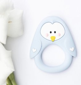 LITTLE CHEEKS Blue Penguin SILICONE TEETHER
