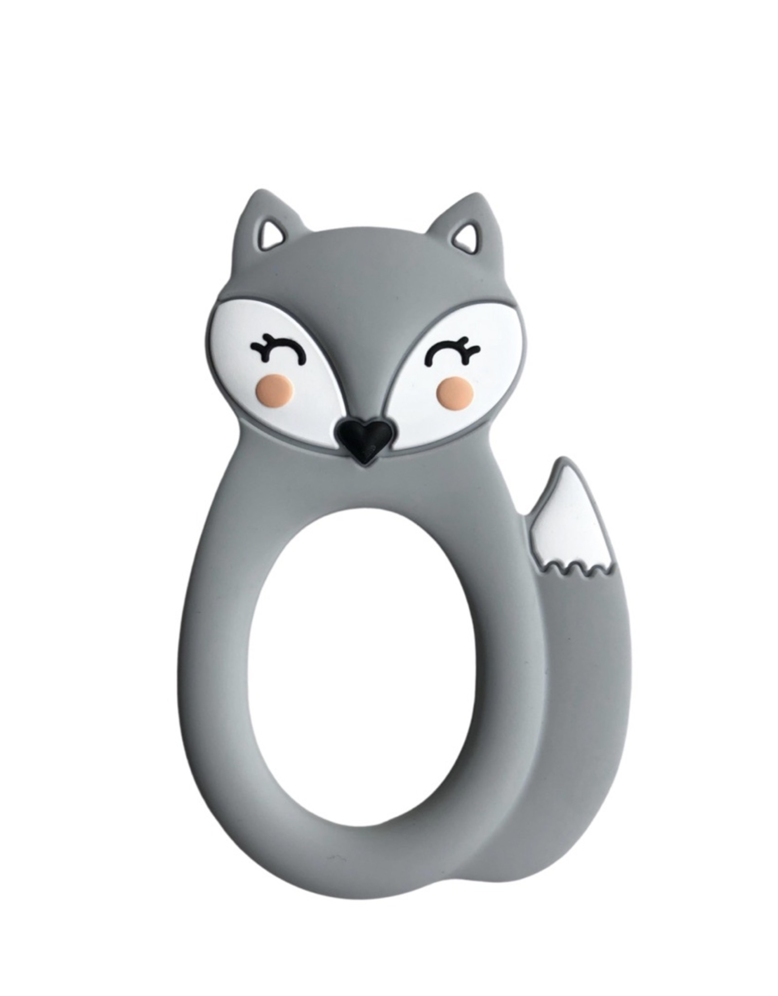 LITTLE CHEEKS Grey Fox SILICONE TEETHER