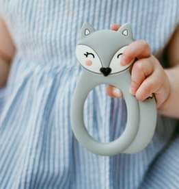 LITTLE CHEEKS Grey Fox SILICONE TEETHER