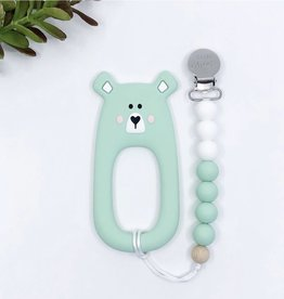 LITTLE CHEEKS Mint Bear TEETHER & CLIP