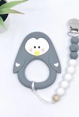 LITTLE CHEEKS Grey Penguin TEETHER & CLIP