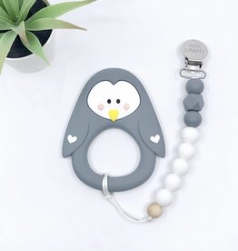 LITTLE CHEEKS Grey Penguin TEETHER & CLIP