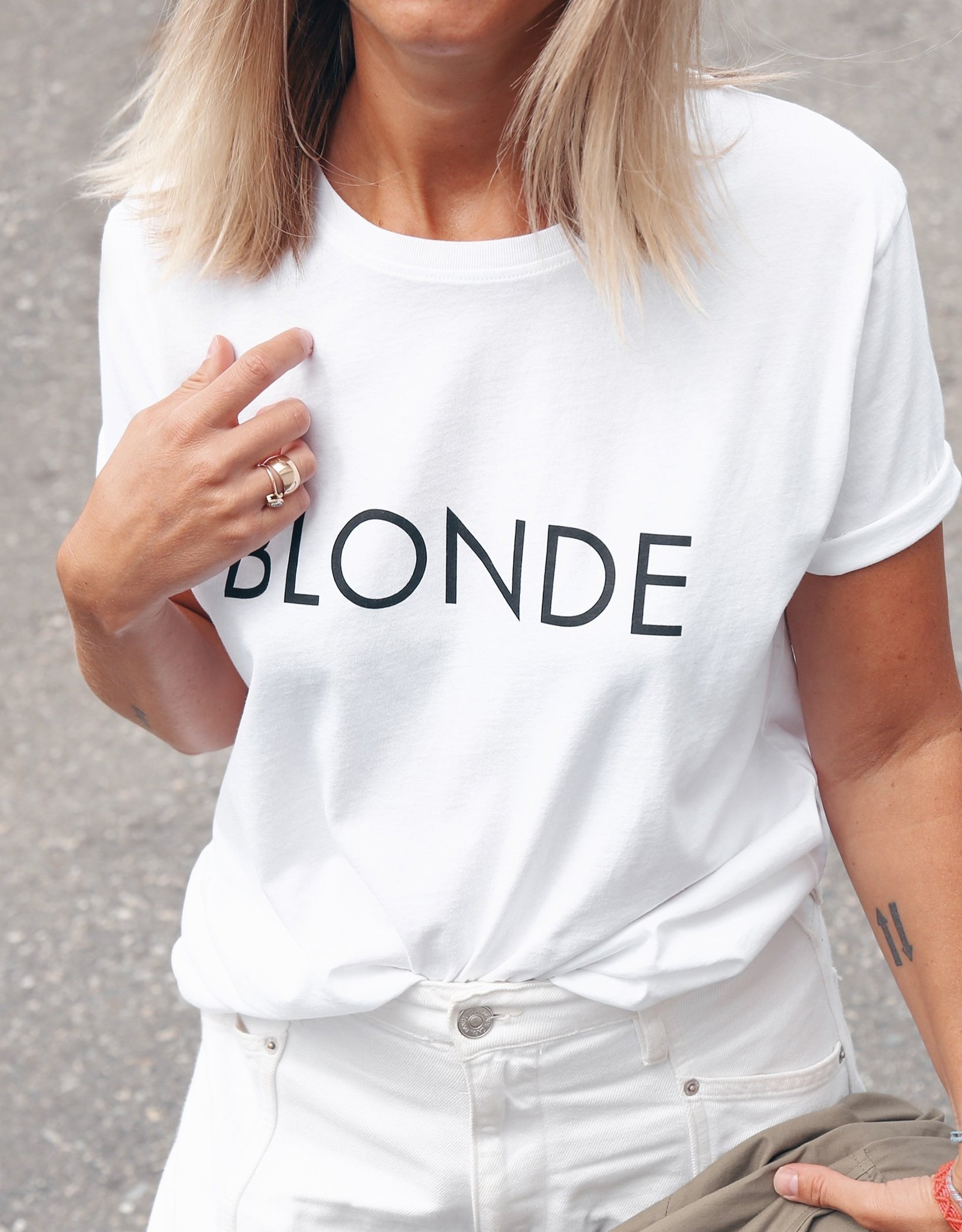 "BRUNETTE  the label The ""BLONDE"" Classic Crew Neck Tee"