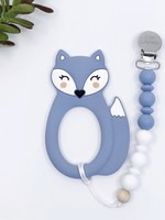 LITTLE CHEEKS Blue Fox TEETHER & CLIP