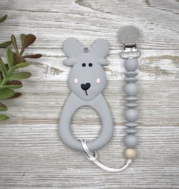 LITTLE CHEEKS Grey Moose TEETHER & CLIP