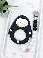 LITTLE CHEEKS Black Penguin TEETHER & CLIP