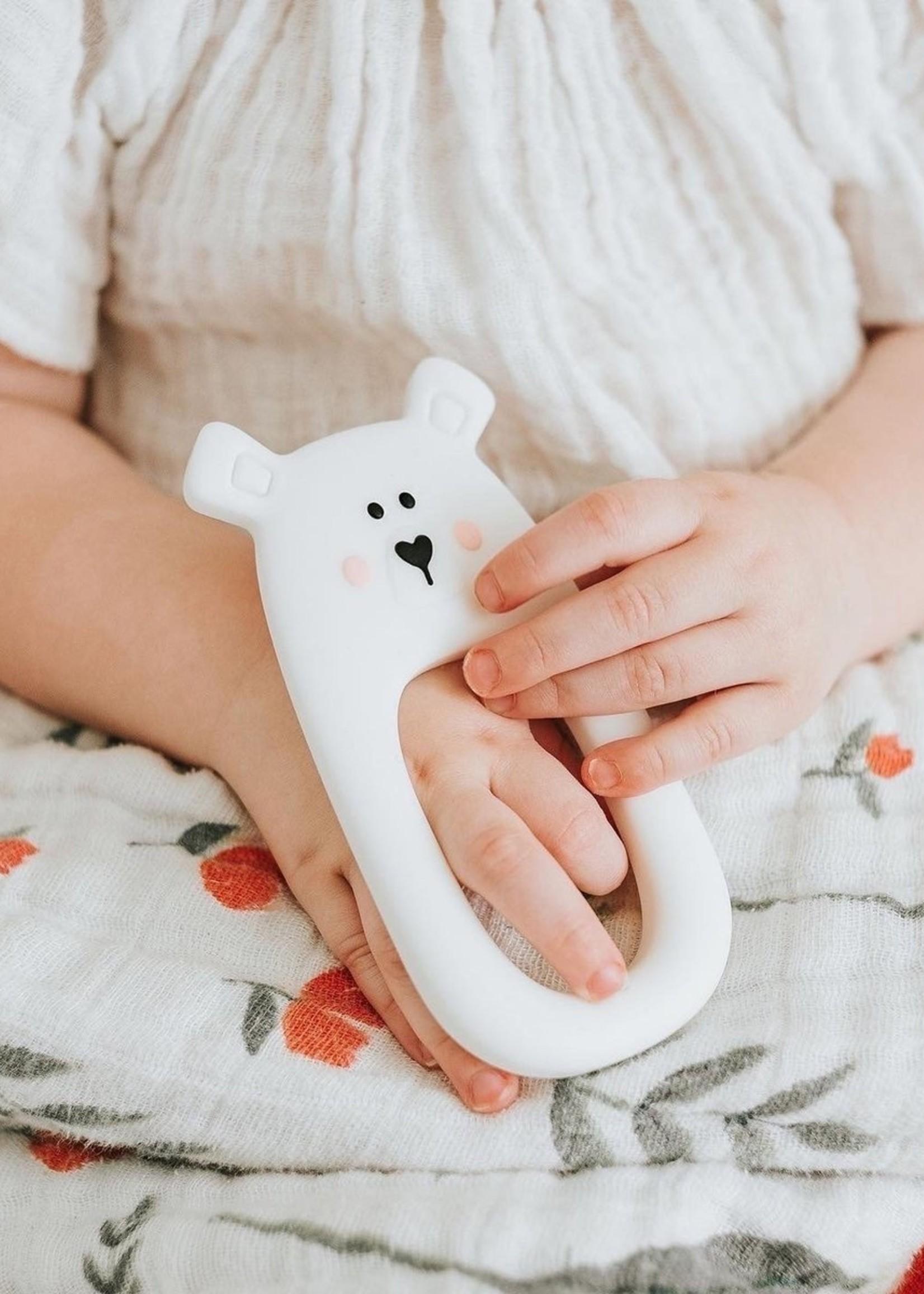 LITTLE CHEEKS LITTLE CHEEKS White Bear SILICONE TEETHER
