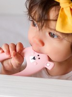 LITTLE CHEEKS Pink Bear SILICONE TEETHER