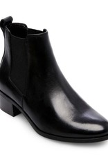 STEVE MADDEN Dover Black Leather Booties