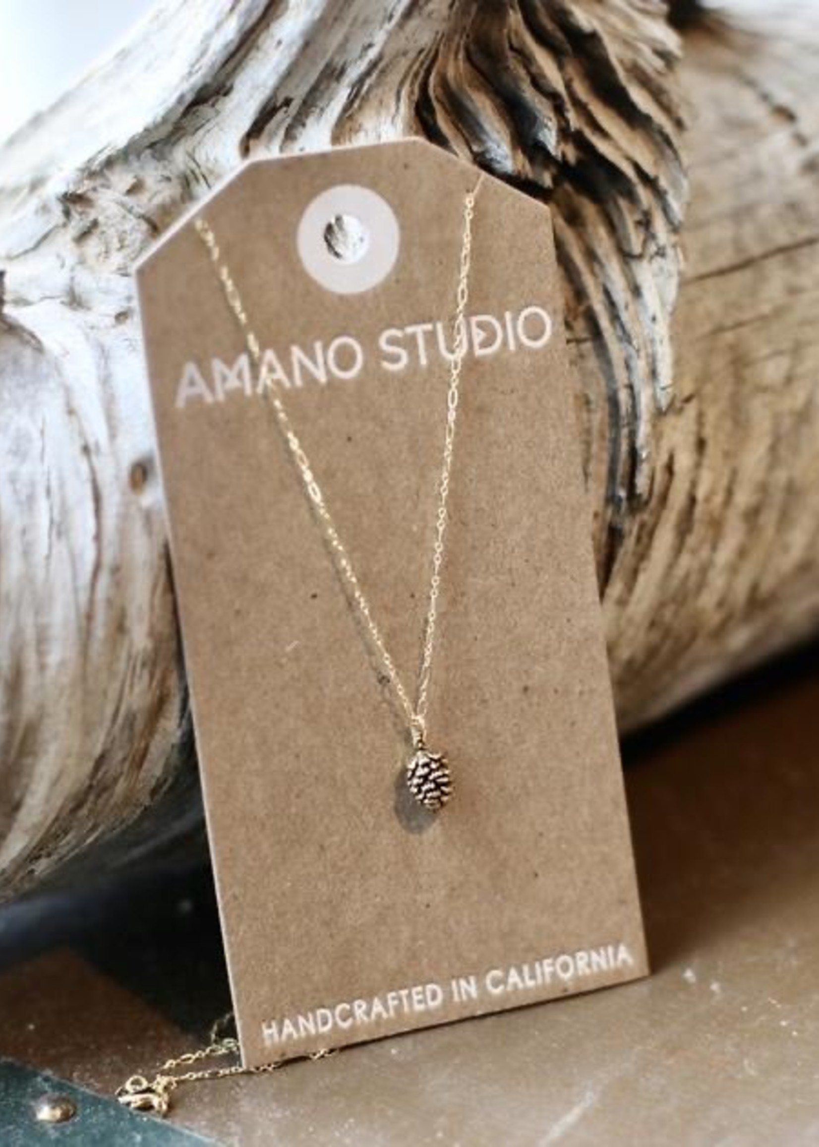 "AMANO studio Pinecone Charm Necklace 20"" chain 14k gold over brass"