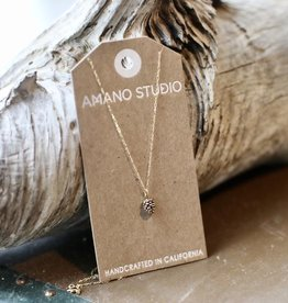 """AMANO studio Pinecone Charm Necklace 20"""" chain 14k gold over brass"""