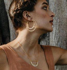 AMANO studio Cresent Moon Hammered Hoops 14k gold over brass