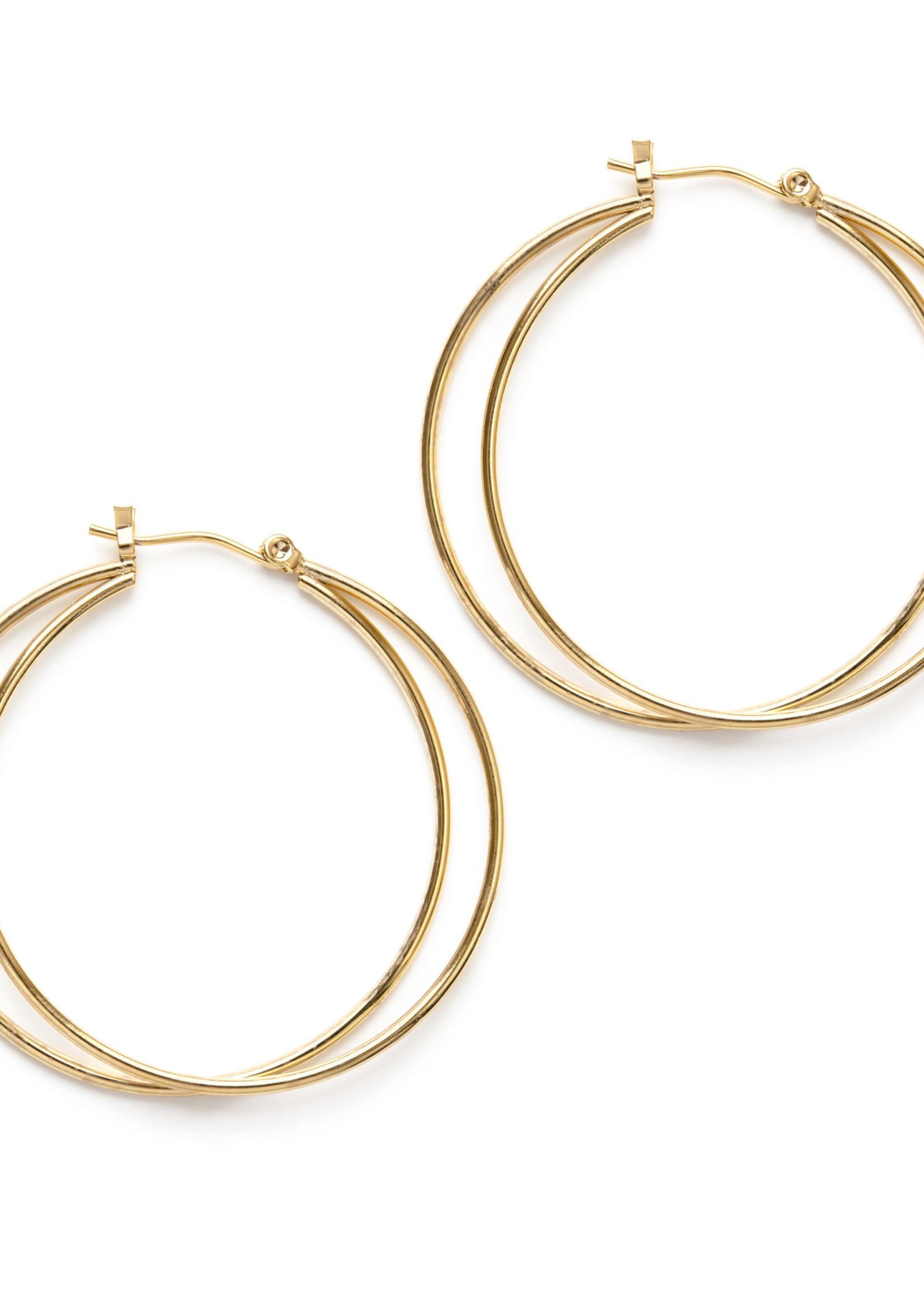 gold double circle hoop earrings ECLIPSE GOLD EARRINGS