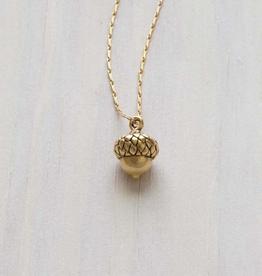 "AMANO studio Tiny Acorn Necklace 18"" chain 14k gold"