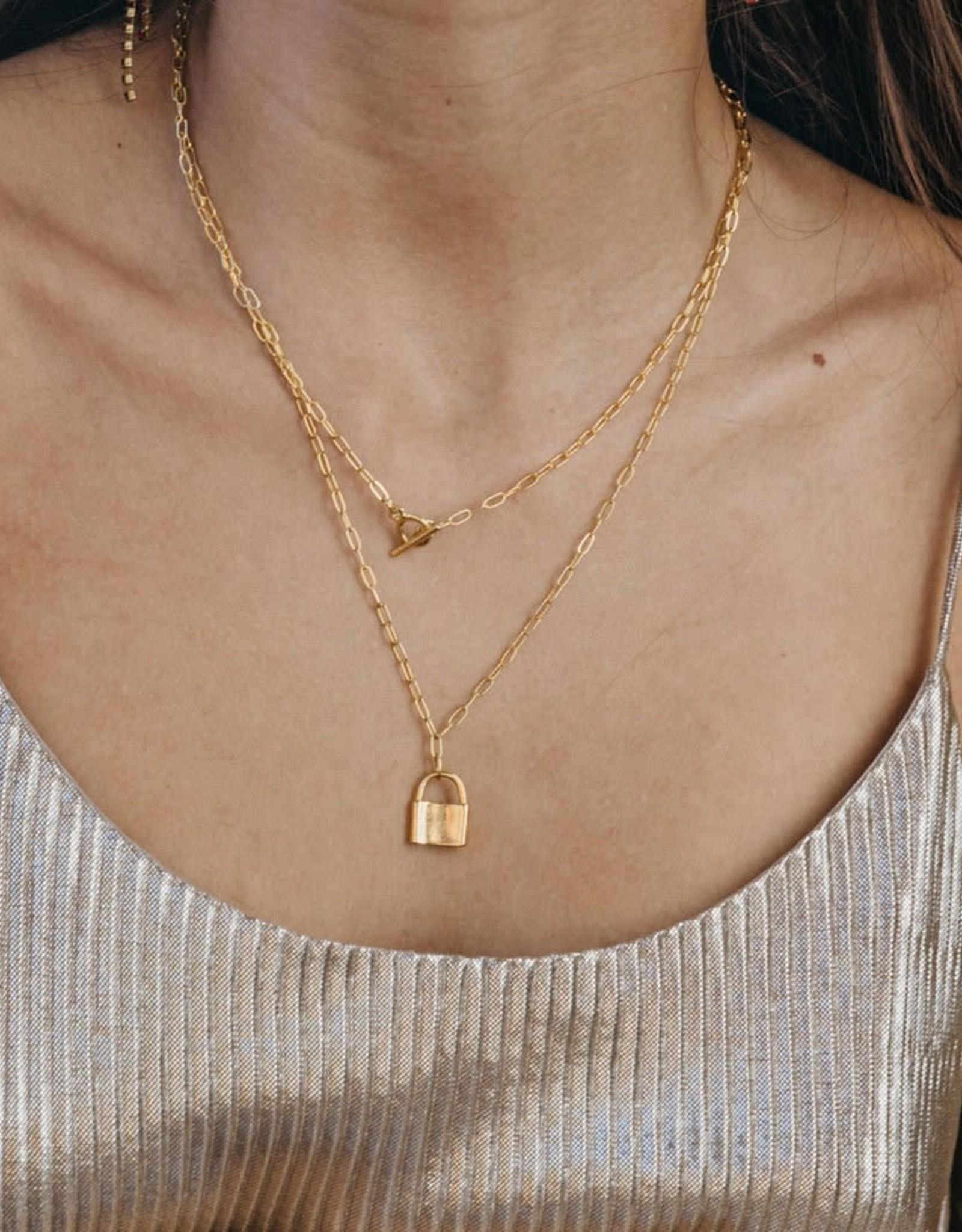 AMANO studio Padlock Necklace 14k gold over brass