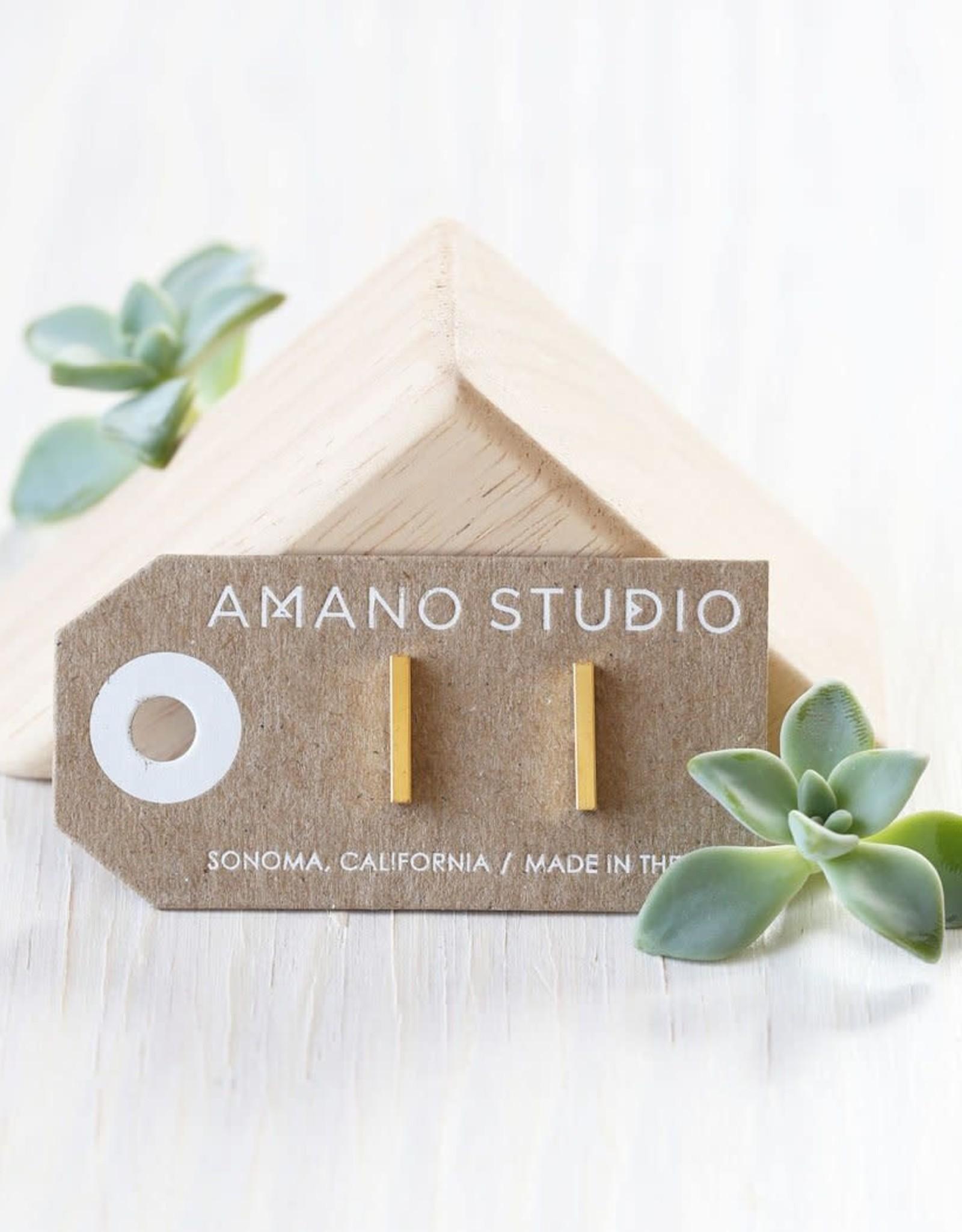 "AMANO studio Gold Bar Studs .5"" bar - brass with 24k gold"