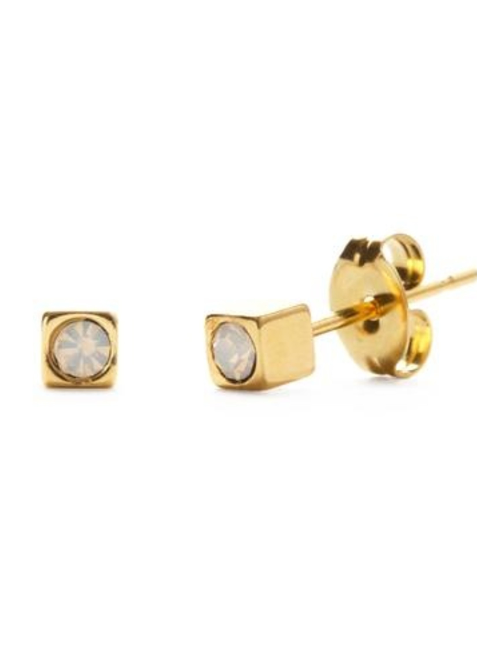 AMANO studio 24k Gold Cube Stud with Taupe Crystal