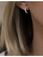 LEAH ALEXANDRA Kusshi Mini Hoops, Pearl/Gold