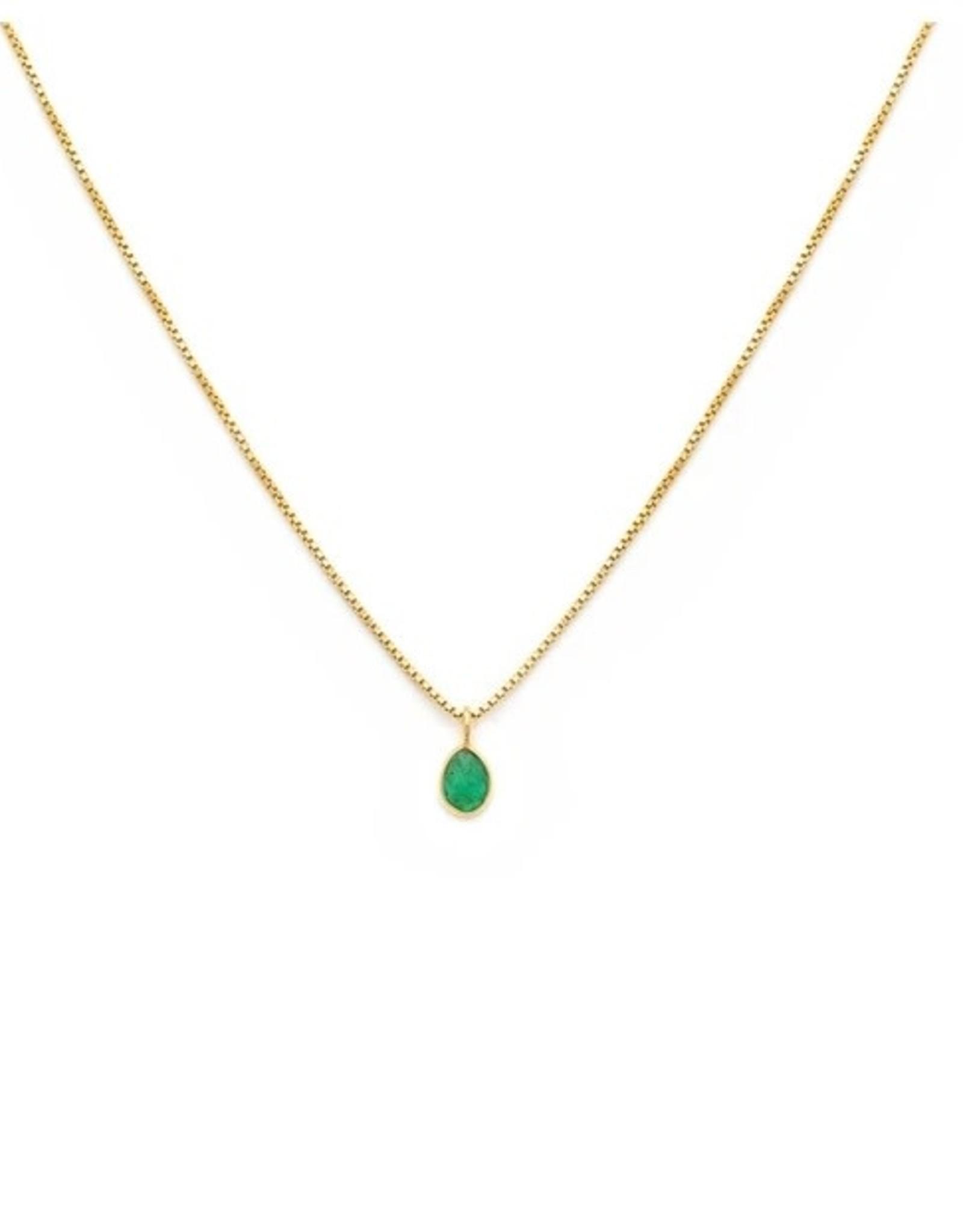 LEAH ALEXANDRA Sofia Slice Necklace, Emerald 14k Gold