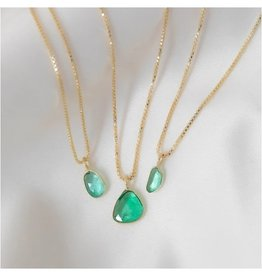 LEAH ALEXANDRA Sofia Slice Necklace, Emerald 14k Gold