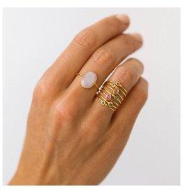 LEAH ALEXANDRA Selena Slice Ring, Moon Stone