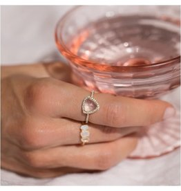 LEAH ALEXANDRA Trielle Ring, Rose Quartz