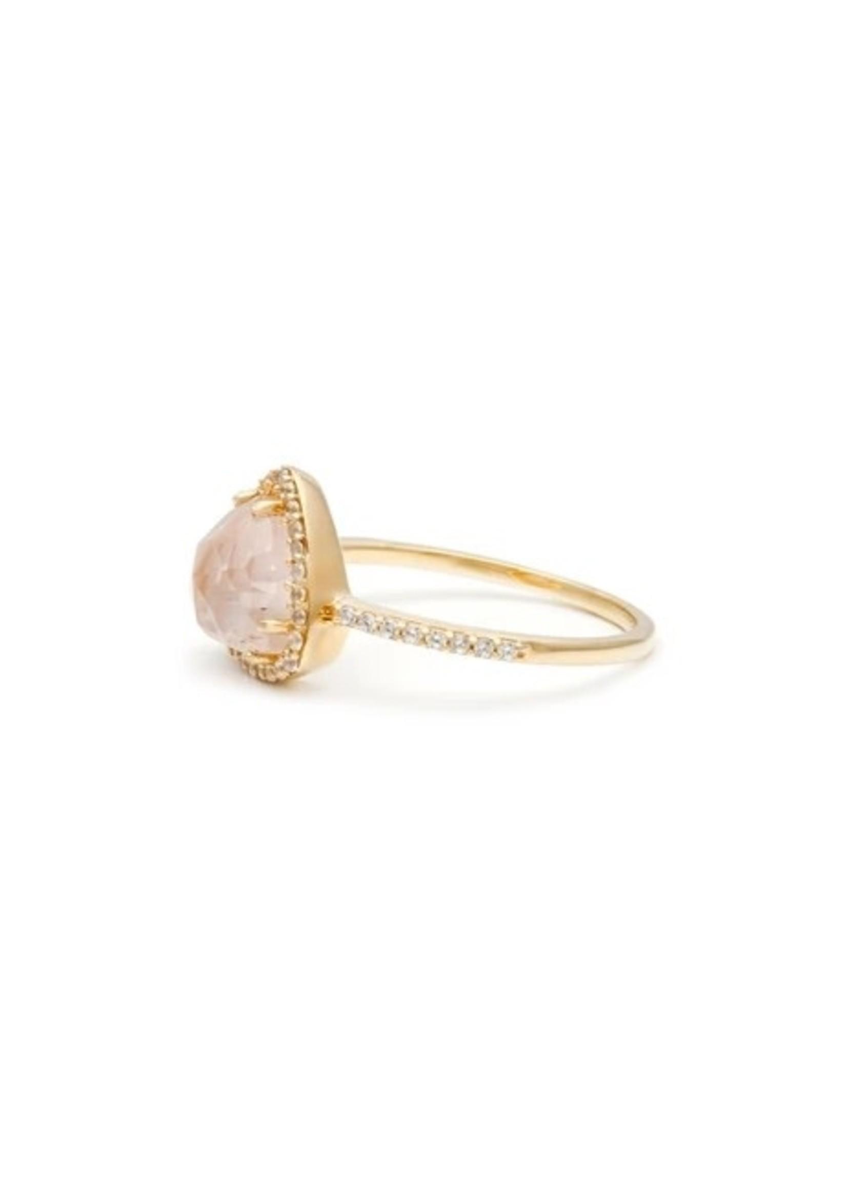 LEAH ALEXANDRA Trielle Ring, Rose Quartz