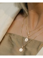 LEAH ALEXANDRA Love Token Necklace, Round Gold Plated