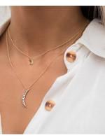 "LEAH ALEXANDRA Luna Cresent Moon Necklace, 16"" Gold Fill"