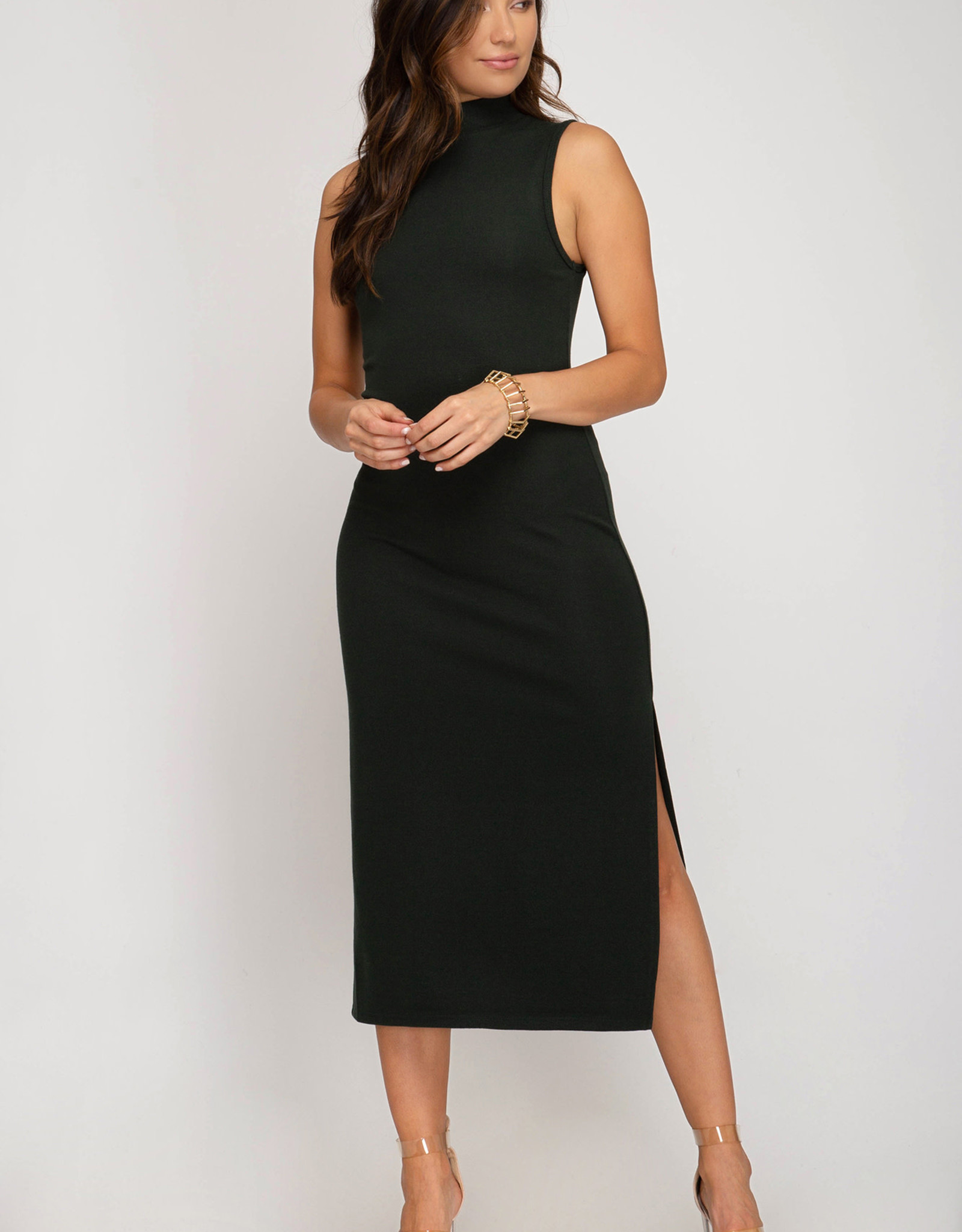LeBLANC finds FITTED Mock Neck Slit Dress