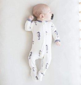 KYTE BABY Printed Zippered Footie SEA HORSE