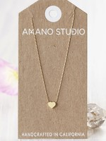 "AMANO studio 14k Gold Platted Tiny Heart Necklace 18"" long"