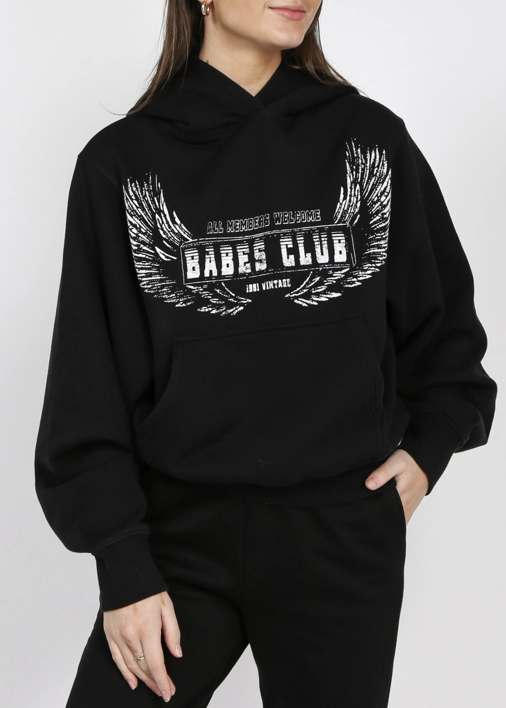 "BRUNETTE  the label The ""WELCOME TO THE BABES CLUB"" Best Friend Hoodie"