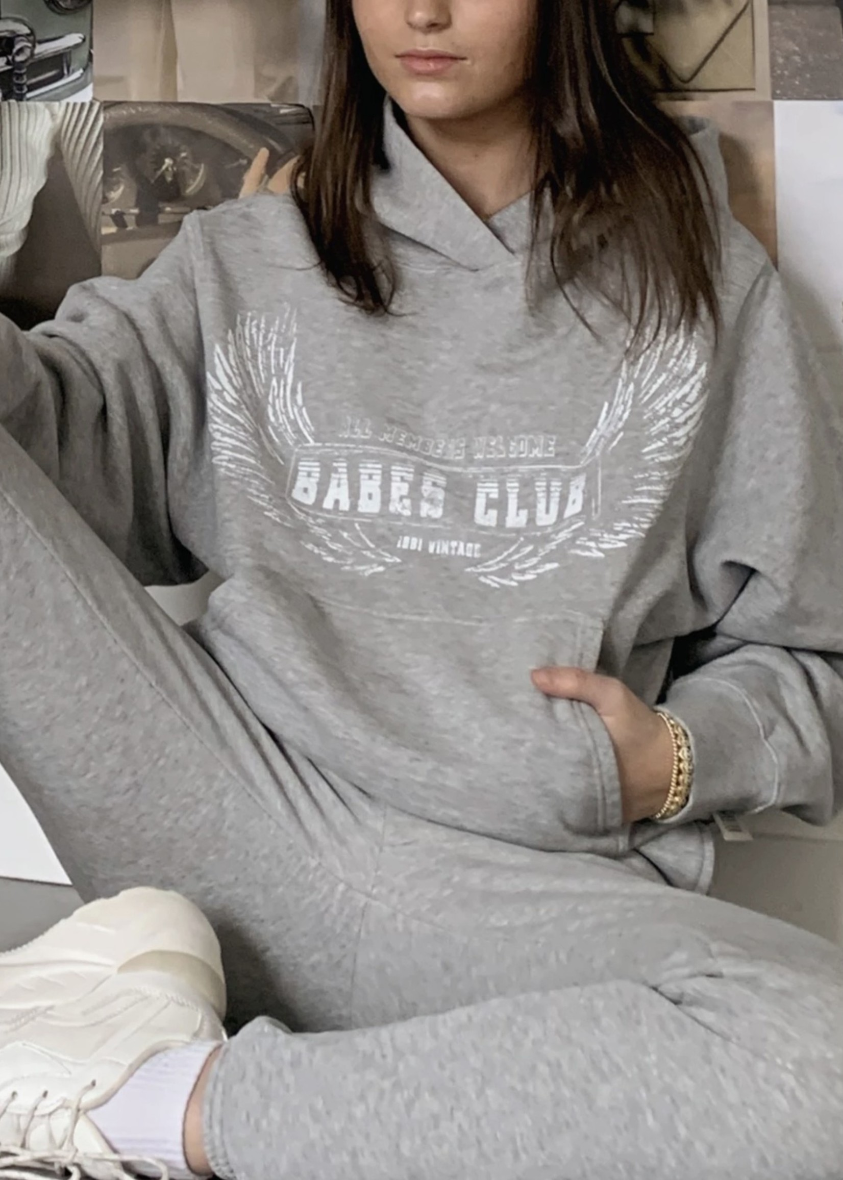 """BRUNETTE  the label The """"WELCOME TO THE BABES CLUB"""" Best Friend Hoodie"""