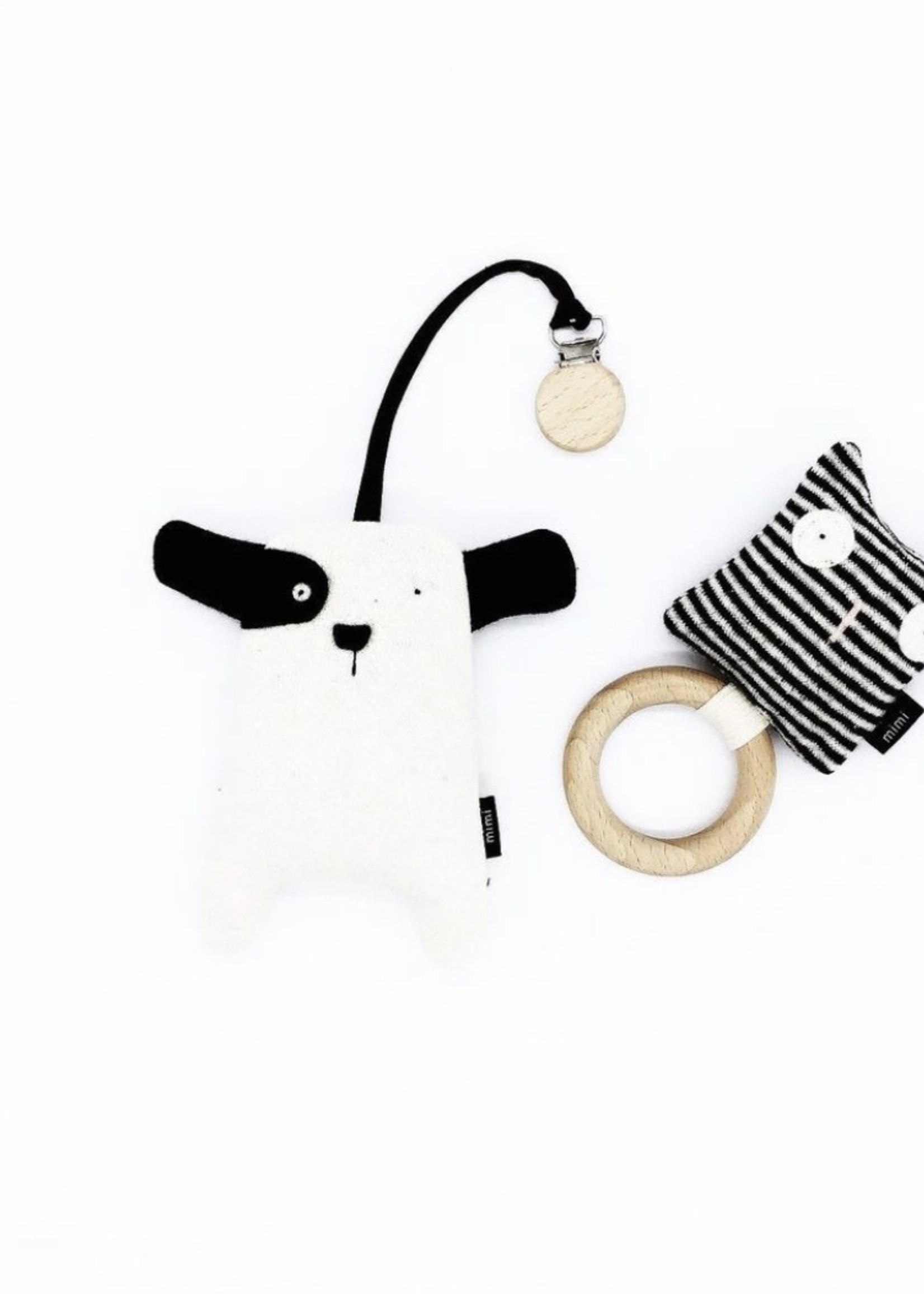 MIMI + MOO Organic Rattle Teething Ring CAT