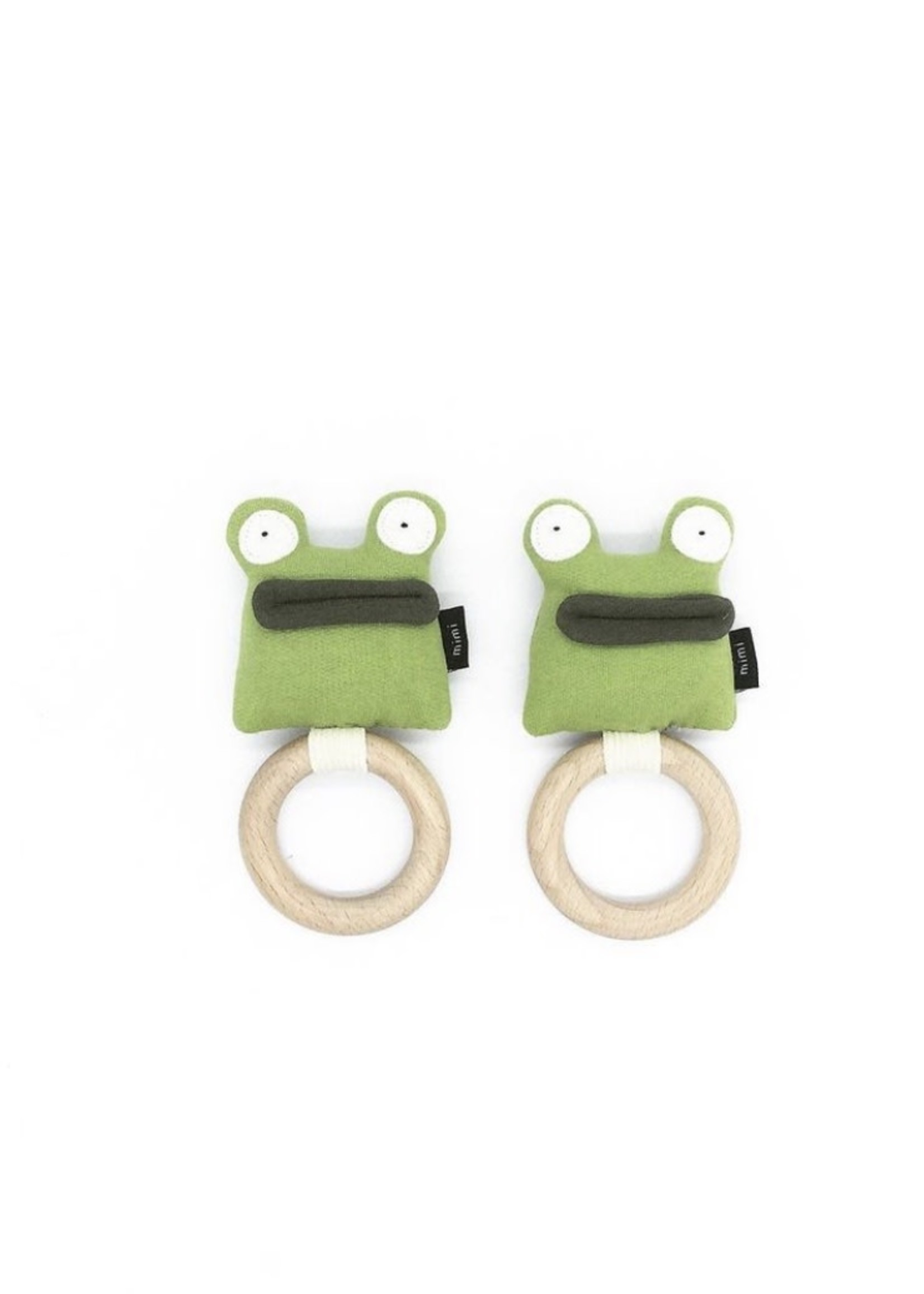 MIMI + MOO Organic Rattle Teething Ring FROG