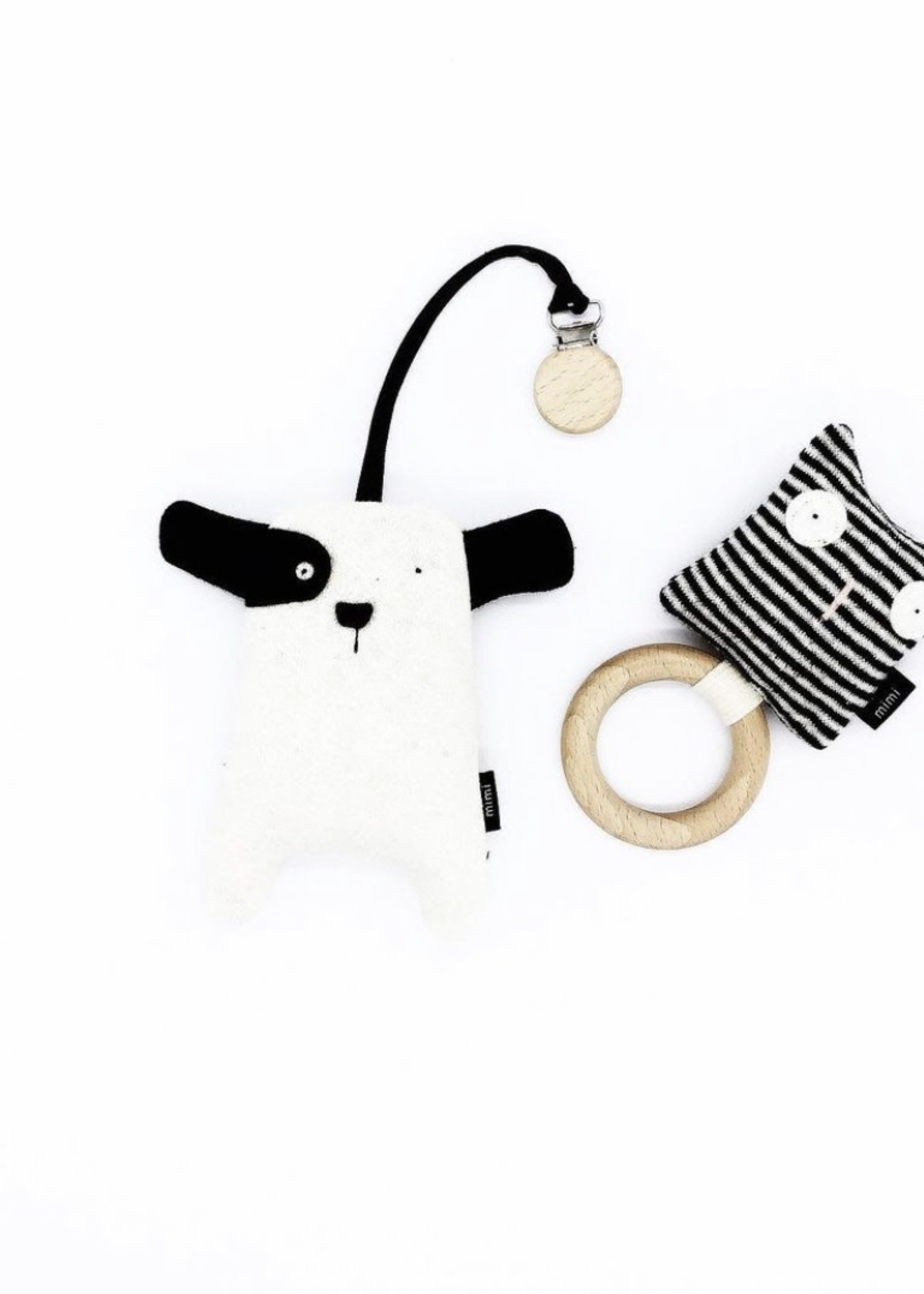 MIMI + MOO Stroller Clip With Rattle PUPPY