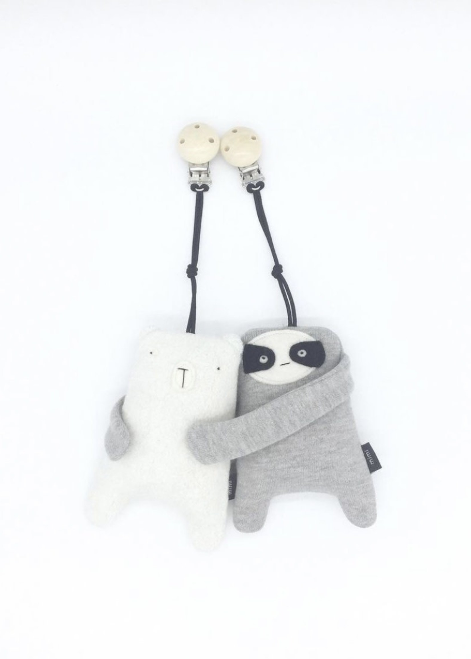 MIMI + MOO Stroller Clip With Rattle POLAR BEAR