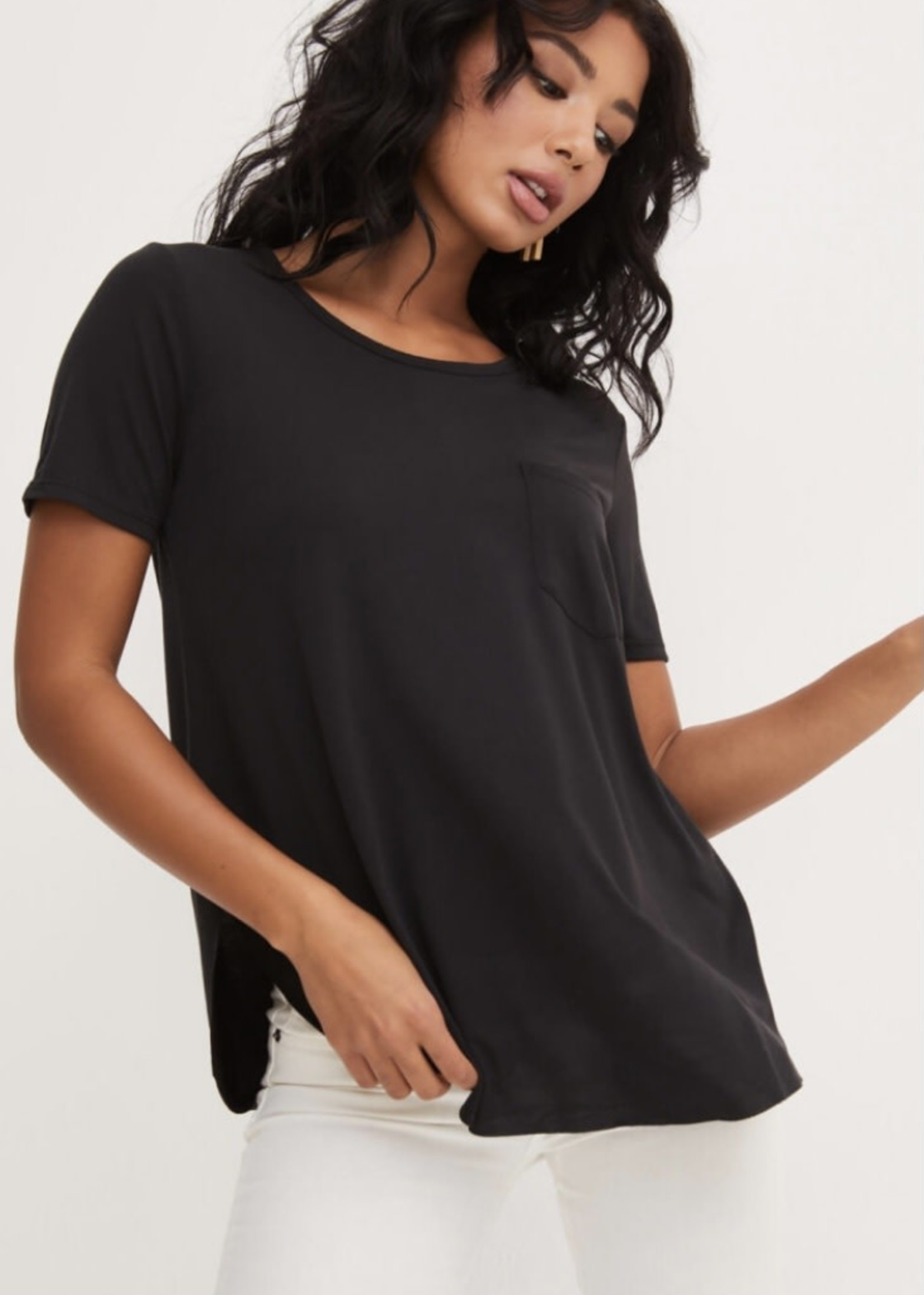 LUSH Scoop Neck Side Slit Tee, more colours