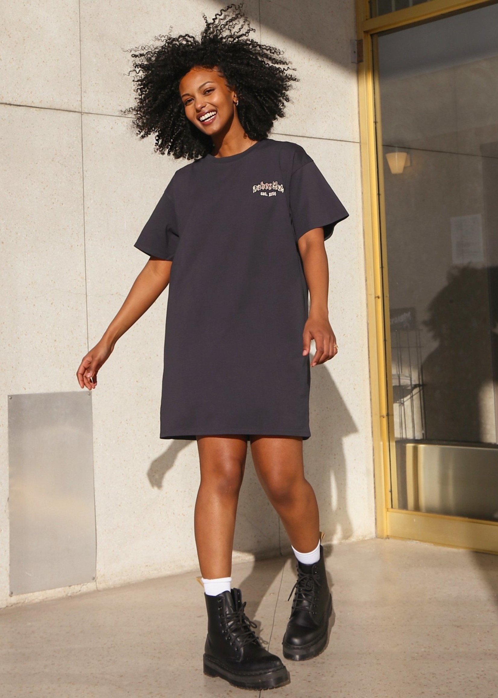 "BRUNETTE  the label The ""BABES CLUB"" Boxy Tee Dress"